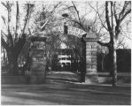 Gateway to Saint Vincent's Sanatorium, Cathedral Place at Palace Avenue, Santa Fe, New Mexico