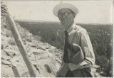 Noted archaeologist and artist Kenneth Chapman at Puye cliff ruins, New Mexico