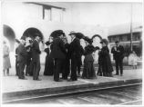 William Randolph Hearst greeting friends at the train station in Las Vegas, New Mexico