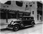 Cadillac Indian Detour car in front of La Fonda Hotel, Santa Fe, New Mexico