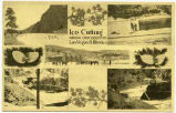 Postcard depicting ice cutting on Gallinas Pond near Las Vegas, New Mexico
