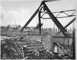 Wreckage of original Santa Fe Opera theater following July 27, 1967 fire, Santa Fe, New Mexico