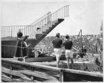 Staircase to nowhere following the July 27, 1967 fire which burned the original Santa Fe Opera...