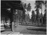 Dude ranch guests relaxing at Conjilon Camp, New Mexico