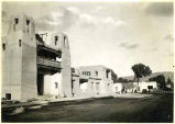 Fine Arts Museum shortly before opening, Palace Avenue and Lincoln Avenue, Santa Fe, New Mexico