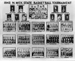 1942 New Mexico Men's Basketball tournament poster with photographs of participating schools teams