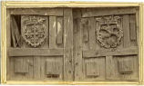 Detail of doors at old Santo Domingo Pueblo mission church, New Mexico