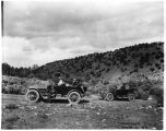 Automobiles touring near Taos, New Mexico