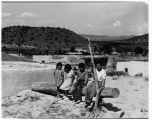 """Laguna Indian Pueblo, children posing for picture. Pueblo is located 50 miles west of..."