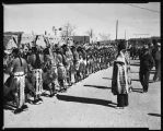 """A line of Basket Dancers at San Juan Indian Pueblo"""