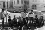 Children participating in school integration busing, San Francisco, California