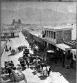 Wagon trains, San Francisco Street at Plaza, Santa Fe, New Mexico