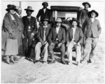 Nina Otero Warren and Emil Bibo with Acoma governor James Miller and other men, Los Cerritos...