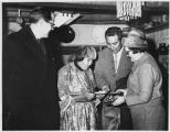 Left to right N.O. Christensen, Governor of Greenland, potter Maria Martinez, her son Popovi Da...