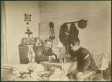 Sargent Harvey on left and Sargent William Minser playing chess, Fort Stanton, New Mexico