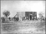 Indians receiving ration tickets, Provost Marshals office, Fort Sumner, New Mexico