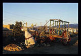 """Jackalope"" with cart Christmas decoration, Santa Fe, New Mexico"