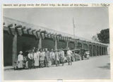 Edgar L. Hewett and group ready for field trip in front of Palace of the Governors, Santa Fe, New...