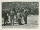 Santa Clara Pueblo Governor Juan José Gutierrez with dignitaries at Puyé cliff dwellings, New...