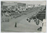 Military parade through downtown Clovis, New Mexico during World War II
