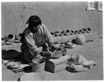 Maria Martinez shaping a pot, San Ildefonso Pueblo, New Mexico