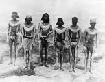 Men with ceremonial body paint ready for kick game, Acoma Pueblo, New Mexico