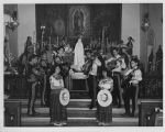 Mariachi band with military color guard, Guadalupe Church, Santa Fe, New Mexico
