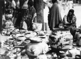 Pottery vendors on Palace of the Governors portal, Indian Market, Santa Fe, New Mexico