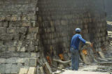 Firing adobe bricks and roof tiles, Mexico