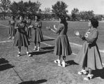 Cheerleaders at homecoming, Santa Fe Indian School, New Mexico