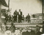 L.B. Prince delivering address on Statehood with Luis Armijo interpreting, Las Vegas, New Mexico