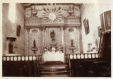 Interior of San Miguel Mission church, 16 July 1904. Frescos painted by Indian converts