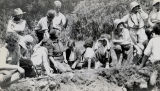 Jemez, NM; students at Hewett Archaeological Field School; Standing far left, Leonora F. Curtin...