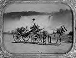 J. Warren Sargent and His Son John W. Sargent in Horse Drawn Buggy with Driver at Niagara Falls