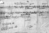 Handwritten genealogy showing part interests of Jose Maria Ramirez family (La Majada)