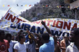 People holding banner, Grenada
