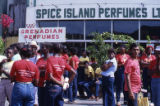 People gathered with political t-shirts, Grenada