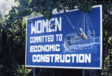 "Sign: ""Women Committed to Economic Construction,"" Grenada"
