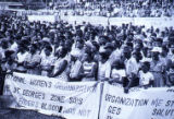 "Women holding ""National Women's Organization"" sign, Grenada"