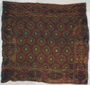 Red and gold tapestry tablecloth