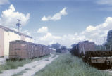 Boxcars in train yard