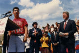 Bill Clinton being introduced by unidentified student
