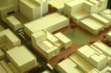 Architectural model of Kimo Theater and surrounding buildings