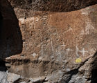 Human and animal petroglyphs at Tsankawi