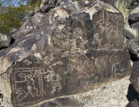 Rock with multiple petroglyphs at Three Rivers Site