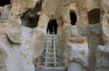 Cavates and ladder at Bandelier National Monument