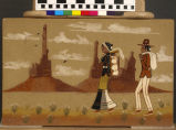 Sand painting of Navajo family walking