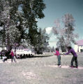 Plains American Indian children playing baseball