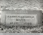 Grave marker for Fanny M. Lathrop Ross, photography by Walter Haussaman