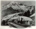Mt. Rainier, the Nisqually Glacier, and a drawing of the Paradise Inn, Mount Rainier National Park